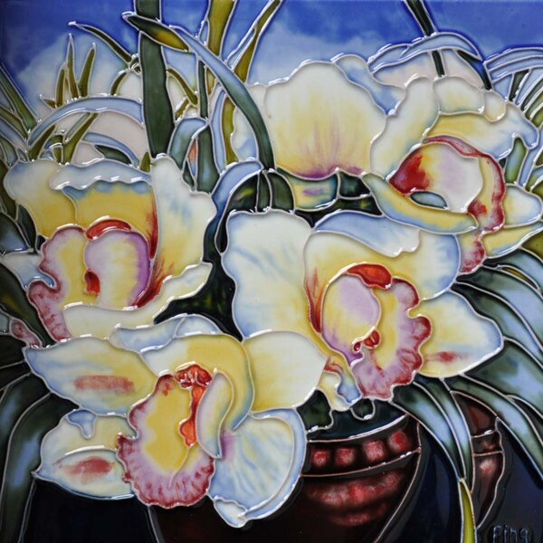 Orchids in a Vase Tile Wall Decor by Continental Art Center