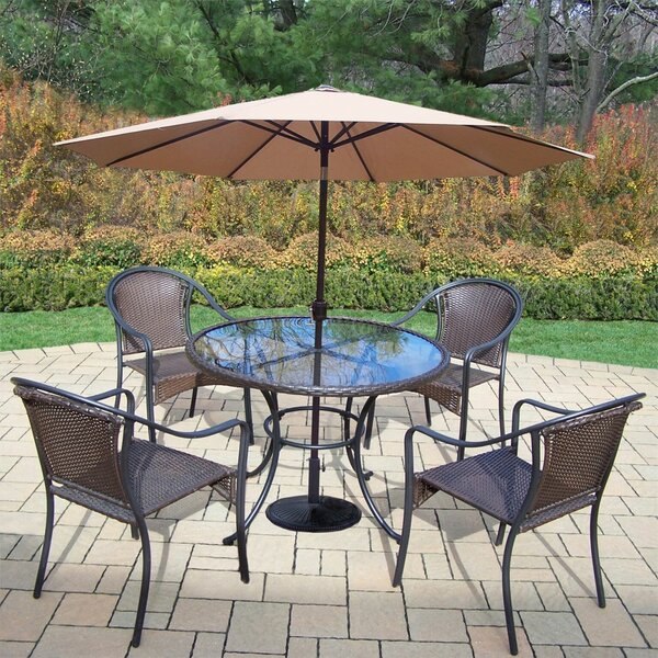 Parishville 5 Piece Durable All Weather Resin Wicker Dining Set with Umbrella by Darby Home Co