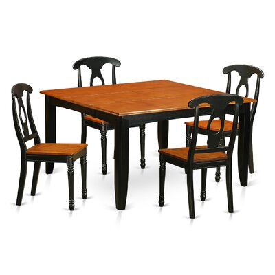 August Grove Pilning Extendable Solid Wood Dining Set  Pieces Included: 5 Pieces: 1 Table, 4 Chairs