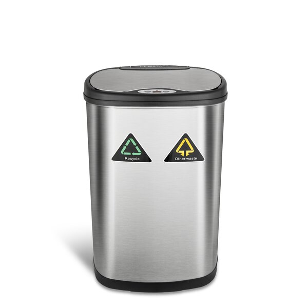 Nine Stars 13.2 Gallon Motion Sensor Multi-Compartments Trash & Recycling Bin by Nine Stars