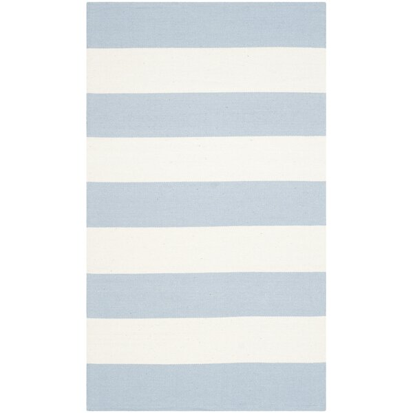 Brookvale Hand-Woven Cotton Sky Blue/Ivory Area Rug by Beachcrest Home