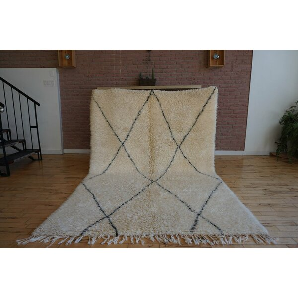 One-of-a-kind Frank Lloyd Beni Ourain Hand-Woven Wool Beige/Black Area Rug by Foundry Select