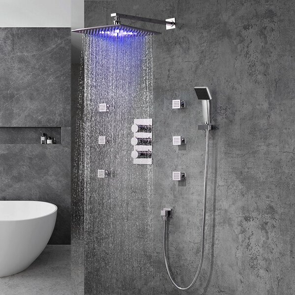 Color Changing LED Head Thermostatic Complete Shower System With Rough-in Valve By FontanaShowers