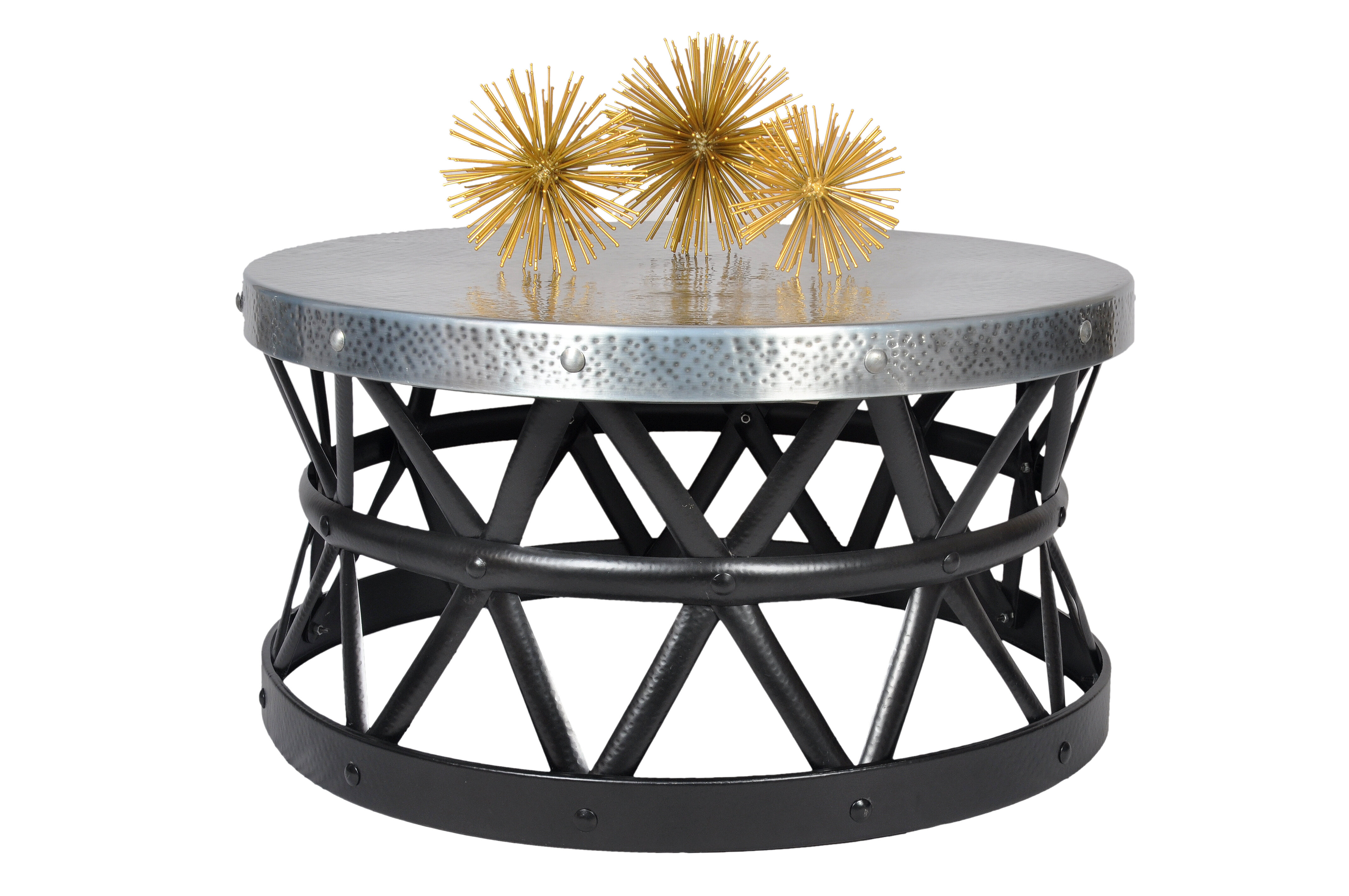 Drum Shaped Coffee Table.Drum Hammered Coffee Table
