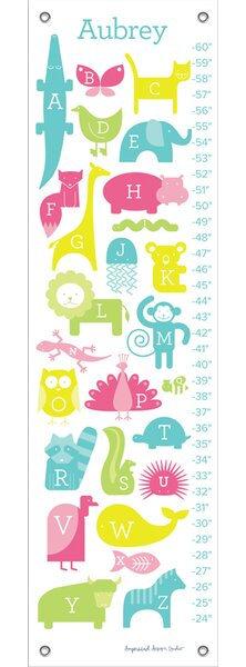ABC Animalia Personalized Canvas Growth Chart by Oopsy Daisy