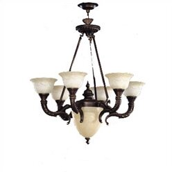 Santos 7 - Light Shaded Empire Chandelier With Glass Accents By Zanin Lighting Inc.