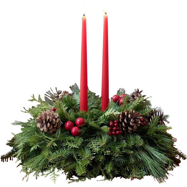 Fresh Classic New England Christmas Table Top Centerpiece by Harbor Farm