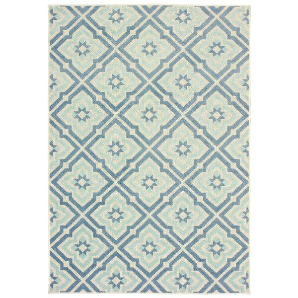 Fluellen Blue/Ivory Indoor/Outdoor Area Rug by Bungalow Rose