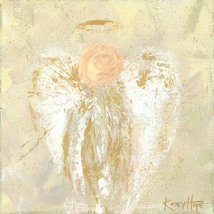 'Be Still Angel' by Kasey Hope Painting Print on Canvas in Gold by Oopsy Daisy