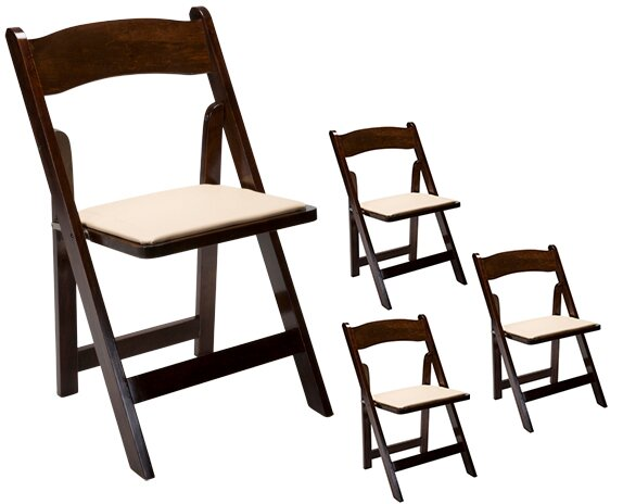 Oakwood Vinyl/Wood Padded Folding Chair (Set of 4) by Event Equipment Sales