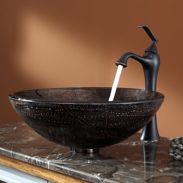 Ventus Glass Circular Vessel Bathroom Sink With Faucet By Kraus.