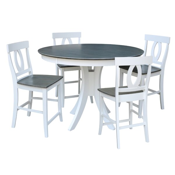 Round Fixed Top Pedestal Counter Height 5 Piece Pub Table Set by Sedgewick Industries