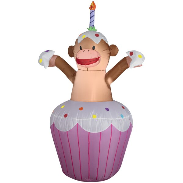 Happy Birthday Cupcake with Monkey Inflatable by The Holiday Aisle