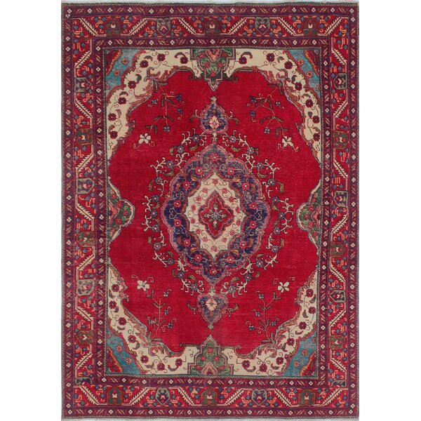 Callowhill Vintage Distressed Hand Knotted Wool Red Area Rug by Bloomsbury Market