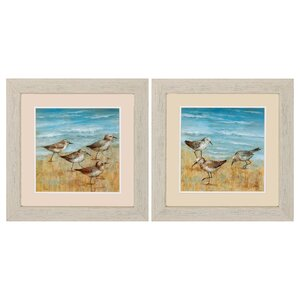 Sandpipers 2 Piece Framed Painting Print Set by Beachcrest Home