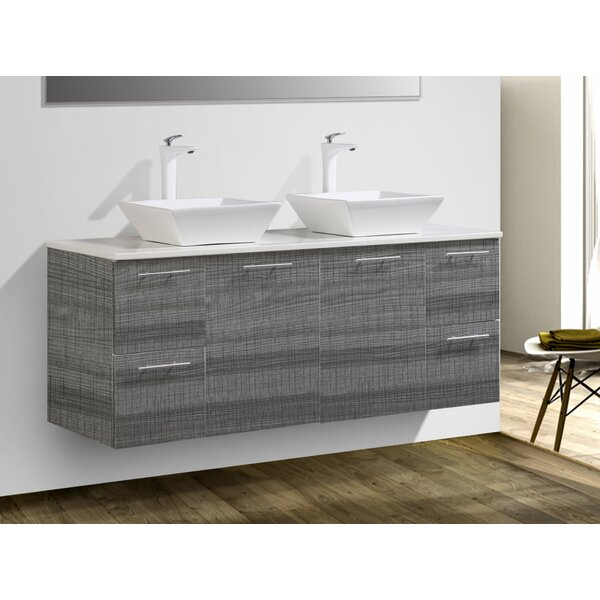 Stinnett 60 Wall Mounted Double Bathroom Vanity Set by Wrought Studio