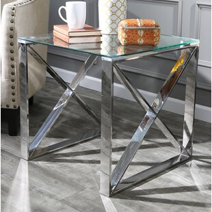 Best Price Stainless Steel and Glass End Table BySagebrook Home