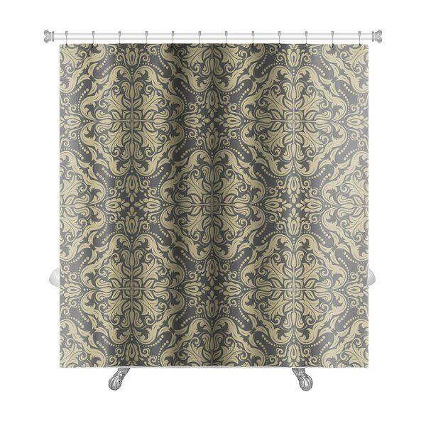 Primo Damask Fine Traditional Ornament with Oriental Elements Premium Shower Curtain by Gear New