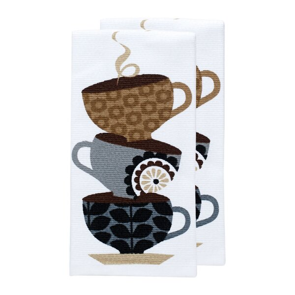 Coffee Cups Print Dual Kitchen Dishcloth (Set of 2) by T-fal