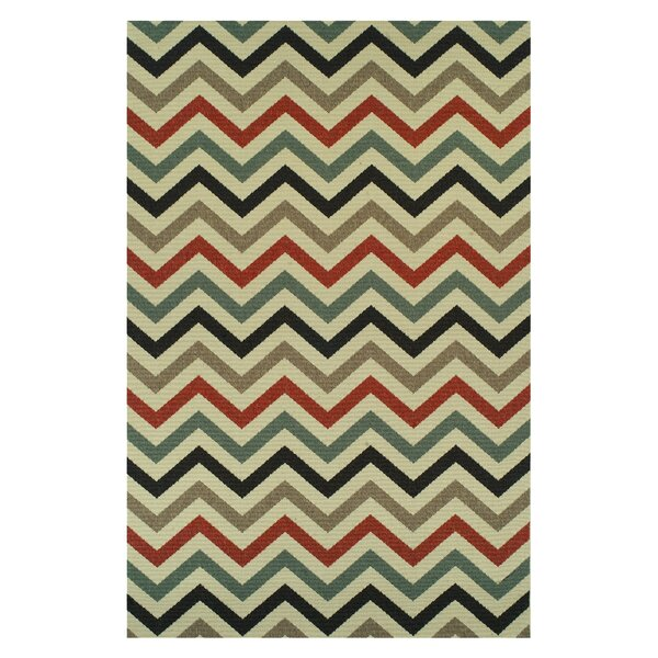 Wampler Chevron Power Loom Polypropylene Beige Indoor/Outdoor Beige Area Rug by Wrought Studio