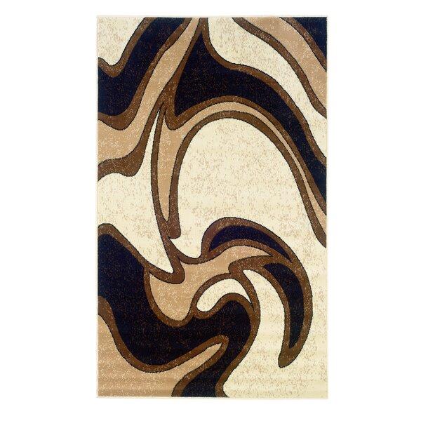 Bruns Black/Cream Area Rug by Ebern Designs