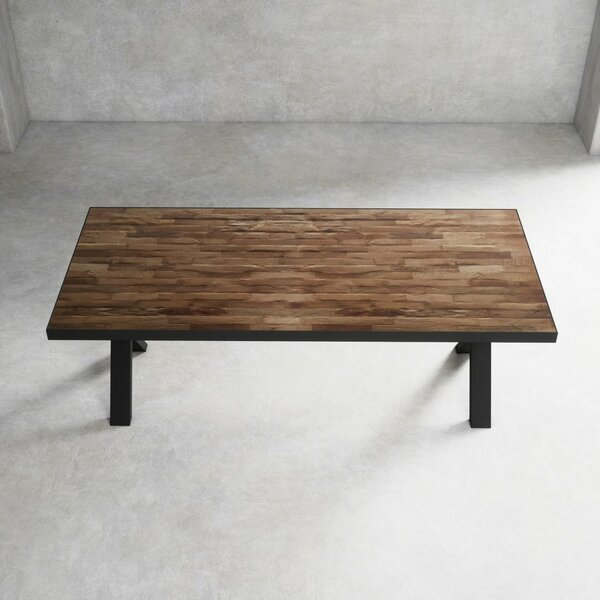 Statham Rustic Brick Top Solid Wood Dining Table by Foundry Select