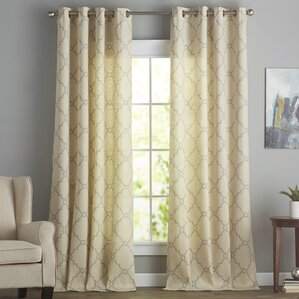 winnett geometric semisheer grommet single curtain panel