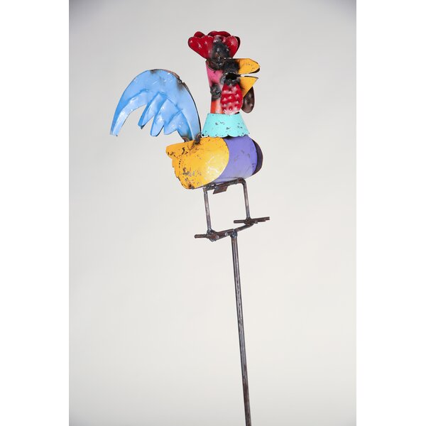 Recycled Metal Metal Rooster Garden Stake by My Amigos Imports