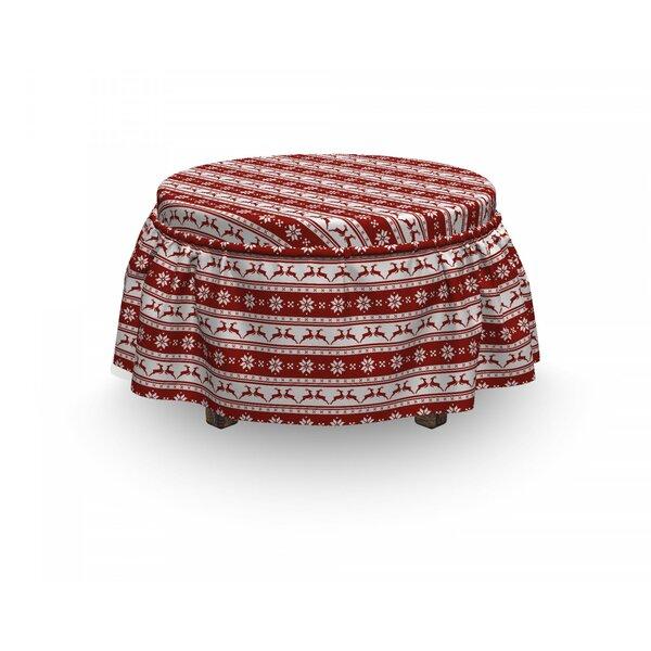 Review Christmas Scandinavian 2 Piece Box Cushion Ottoman Slipcover Set