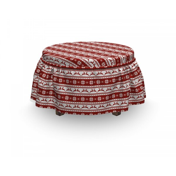 Christmas Scandinavian 2 Piece Box Cushion Ottoman Slipcover Set By East Urban Home