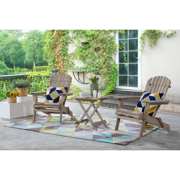 Debose Solid Wood Folding Adirondack Chair with Table by Highland Dunes Highland Dunes