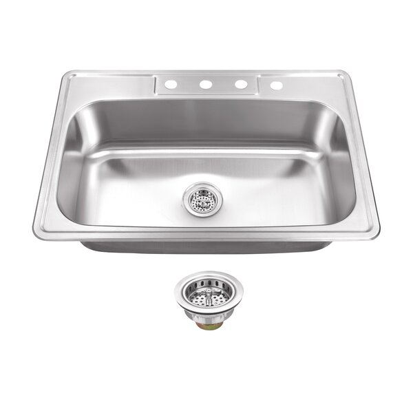 20 Gauge Stainless Steel 33 L x 22 W Drop-In Kitchen Sink with Drain Assembly by Soleil