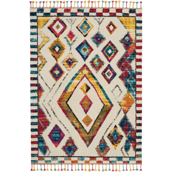 Wayne Moroccan Tribal Ivory/Yellow Area Rug by Bungalow Rose