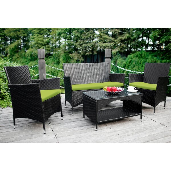 Umair 4 Piece Sofa Seating Group with Cushions by Ebern Designs