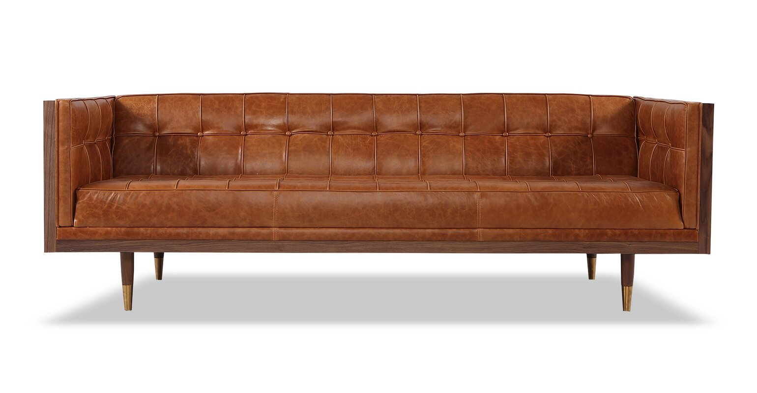 Merveilleux Carey Mid Century Modern Box Leather Sofa
