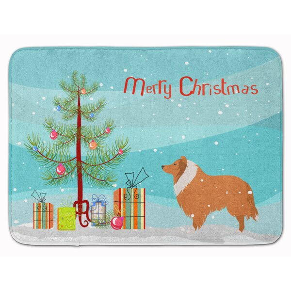 Collie Dog Merry Christmas Tree Rectangle Microfiber Non-Slip Bath Rug