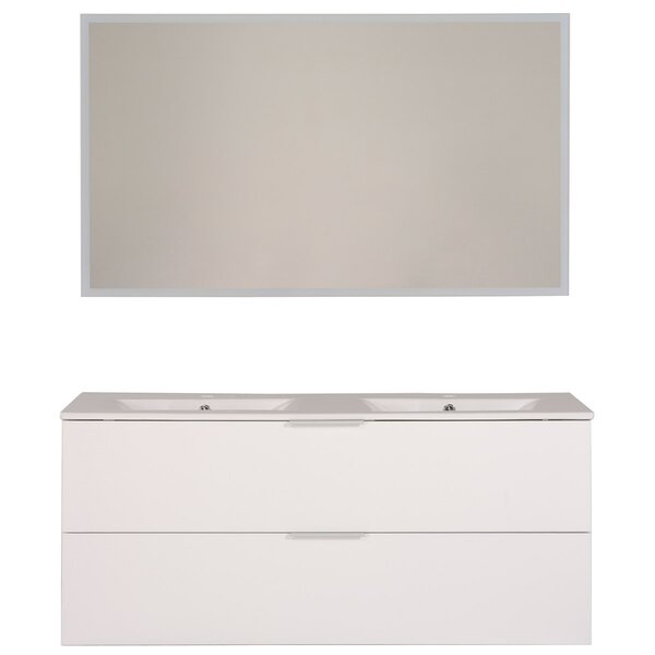 Luxy 47 Wall-Mounted Double Bathroom Vanity Set with Mirror by Parisot