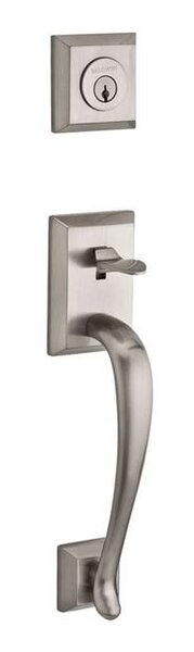 Napa Single Cylinder Handleset with Curve Door Lever and Traditional Square Rose with Smartkey by Baldwin