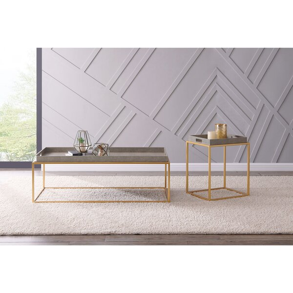 Free S&H Feyre Shagreen 2 Piece Coffee Table Set