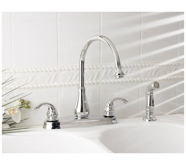 Treviso Double Handle Kitchen Faucet with Side Spray by Pfister