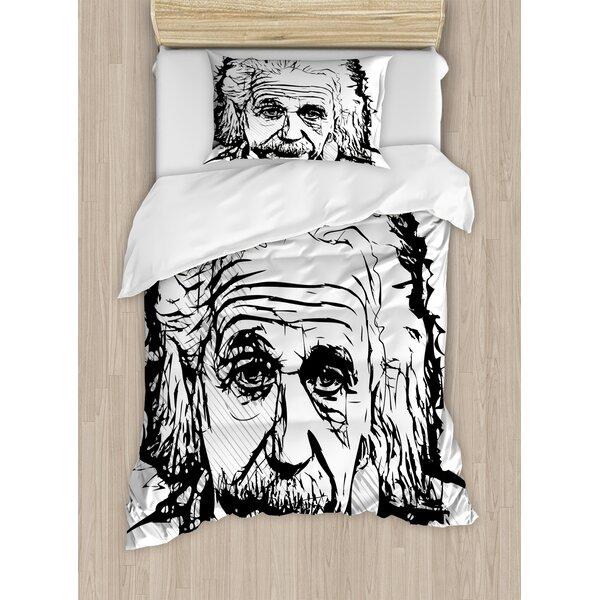 Hand Drawn Portrait of Albert Einstein Famous Scientist Physicist Sketchy Duvet Set by Ambesonne