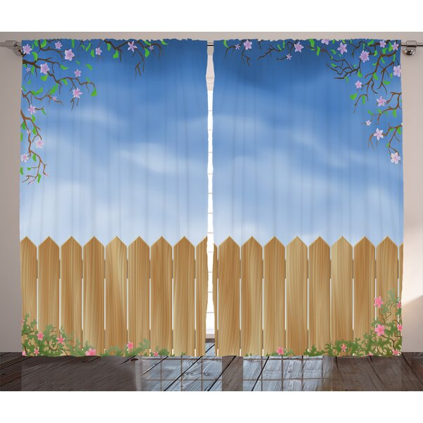 Costin Farm House Wooden Garden Plank with Swirled Spring Season Bloom Up Tranquil Landscape Graphic Print & Text Semi-Sheer Rod Pocket Curtain Panels (Set of 2) by Latitude Run