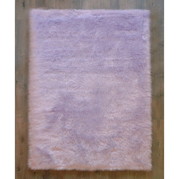 Demetra Faux Sheepskin Lavender/White Area Rug by Harriet Bee
