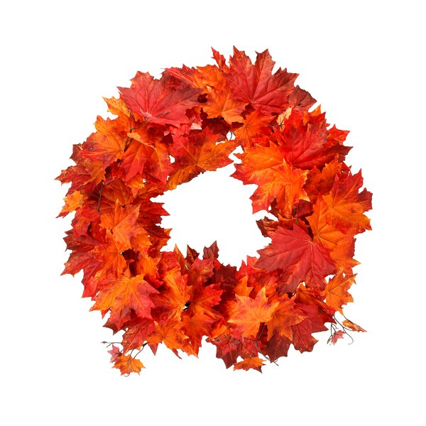 24 Harvest Maple Leaf Wreath by August Grove