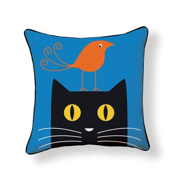 Bird on Cat Throw Pillow