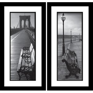 Brooklyn Bridge Benches on the Boardwalk 2 Piece Framed Photographic Print Set on Paper by Star Creations