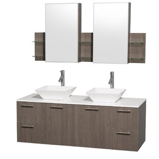 Amare 60 Double Gray Oak Bathroom Vanity Set with Medicine Cabinet By Wyndham Collection
