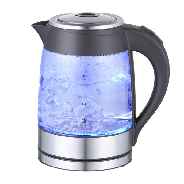 1.9-qt. Glass and Stainless Steel Electric Tea Kettle by Mega Chef