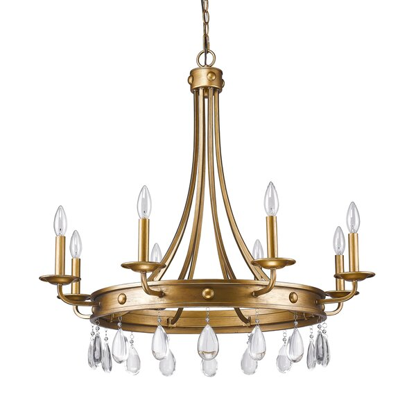 Lipscomb 8 - Light Candle Style Wagon Wheel Chandelier with Crystal Accents by Astoria Grand Astoria Grand