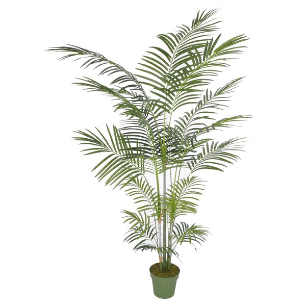 Artificial Areca Palm Tree Floor Silk Plant in Planter by Beachcrest Home